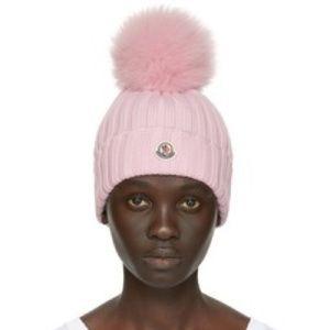 Pink fur pom pom moncler beanie